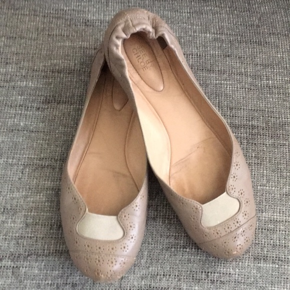 See by Chloe perforated Leather Ballet Flats nude